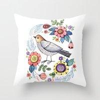 Romantic singing bird with flowers Throw Pillow