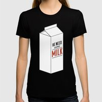 He Need Some Milk Womens Fitted Tee Black SMALL