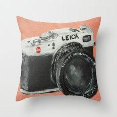 Vintage Camera Leica Fine Art Acrylic Painting Throw Pillow