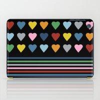 Heart Stripes Black iPad Case