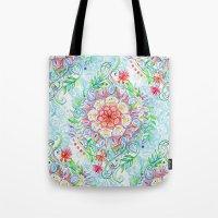 Messy Boho Floral in Rainbow Hues Tote Bag