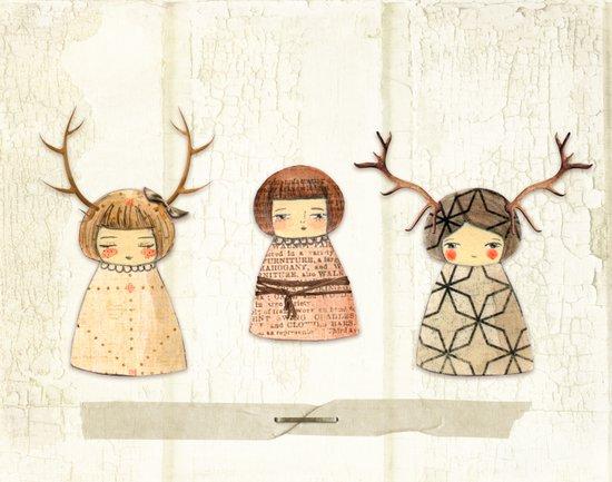 Deer paperdolls Art Print