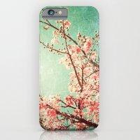 Pink Autumn Leafs On Blu… iPhone 6 Slim Case