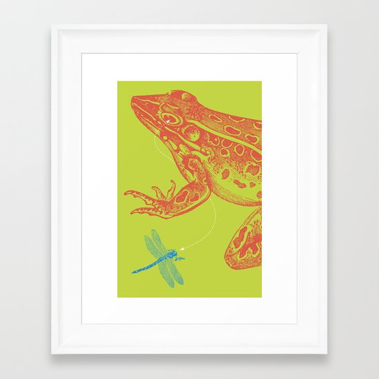 Frog vs. Dragonfly Framed Art Print