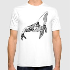 Patchwork Whale Mens Fitted Tee SMALL White