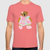 Rose Bear Mens Fitted Tee Pomegranate SMALL