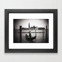 Venice Gondoliere Framed Art Print