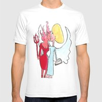 Angel/devil Lesbian Kiss Mens Fitted Tee White SMALL