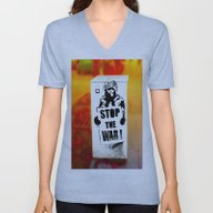Unisex V-Neck featuring STOP THE WAR !! by Die Farbenfluesterin