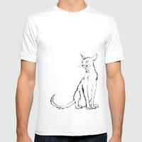 Skinny cat illustration Mens Fitted Tee White SMALL