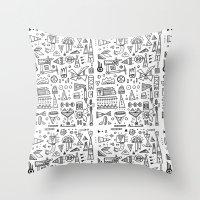 Triangle doodles Throw Pillow