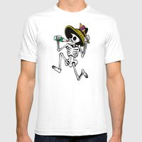 DANCING CALAVERA  Mens Fitted Tee White SMALL