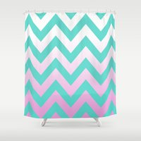 TEAL CHEVRON PINK FADE Shower Curtain