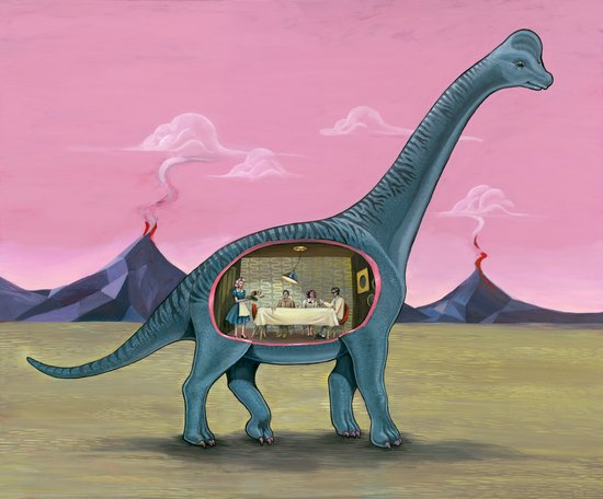 Home Sweet Brachiosaurus Canvas Print