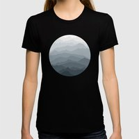 Silver Dew Mountains Womens Fitted Tee Black SMALL