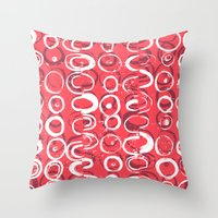 Hoops lino print and digital pattern Throw Pillow