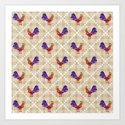 Rooster Pattern Art Print