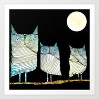 owls Art Prints featuring Owls by Brontosaurus