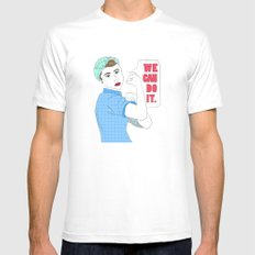 Rosie the Riveter Mens Fitted Tee White SMALL