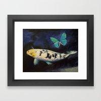 Bekko Koi And Butterfly Framed Art Print