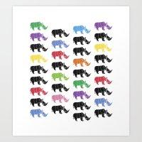 Rhino paper Art Print