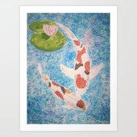 Koi In Water Art Print