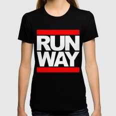 RUNWAY Womens Fitted Tee Black SMALL