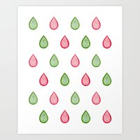 Pink and green raindrops Art Print