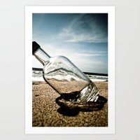 Bottle On Beach Art Print