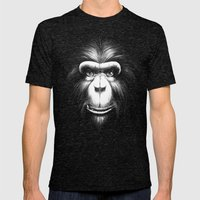 Monkee with Tooth Mens Fitted Tee Tri-Black SMALL