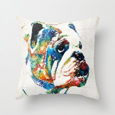Bulldog Pop Art - How Bout A Kiss - By Sharon Cummings Throw Pillow