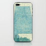 Alabama Map Blue Vintage iPhone & iPod Skin