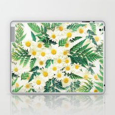 Textured Vintage Daisy and Fern Pattern  Laptop & iPad Skin