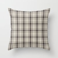 Plaid In Taupe Throw Pillow