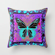 Purple-Black Southwest Monarch Butterfly Patterned Abstract Throw Pillow