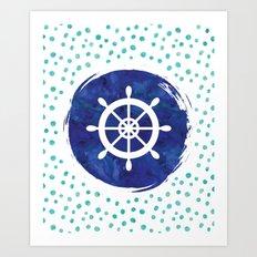 Watercolor Ship's Wheel Art Print