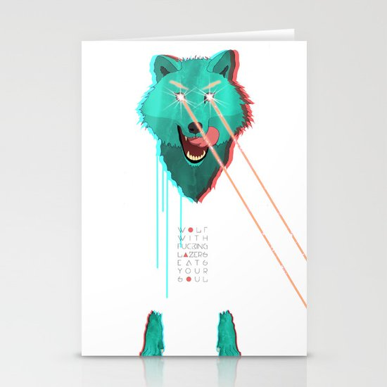 Wolf With F**king lasers Stationery Card