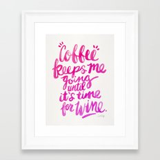 Coffee & Wine – Pink Ombré Framed Art Print