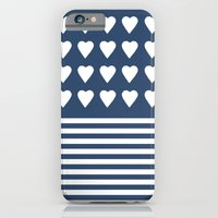 iPhone & iPod Case featuring Heart Stripes Navy by Project M