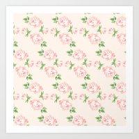 Pink Vintage Roses Patte… Art Print
