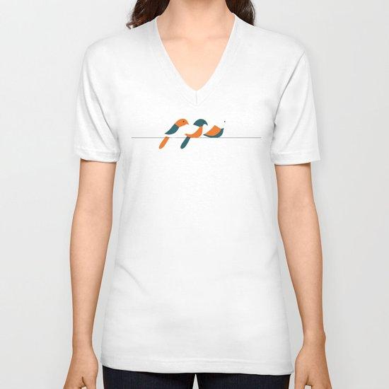 Birds on wire V-neck T-shirt