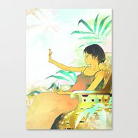 Woman Painting A Manicur… Canvas Print