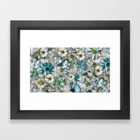 Shabby Blue Flowers Framed Art Print