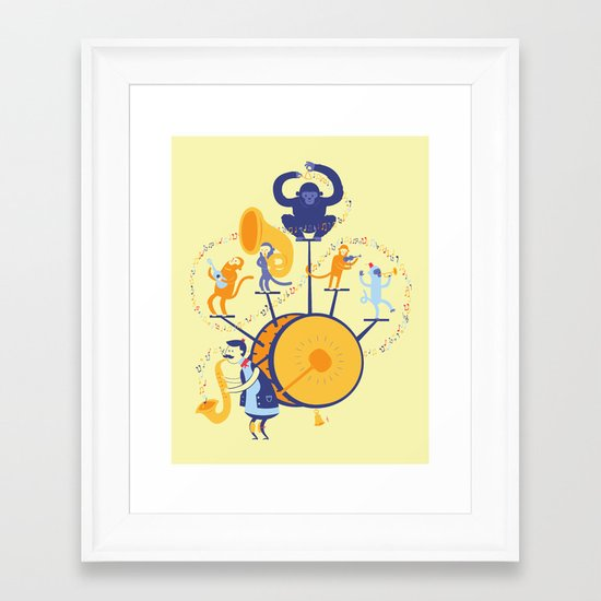 One man (five monkey) band Framed Art Print