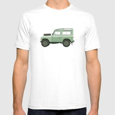 Car illustration - land rover Mens Fitted Tee White SMALL