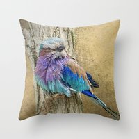 Lilac Breasted Roller resting. Throw Pillow