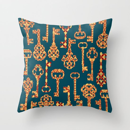 Yellow and Red Skeleton Key Pattern Throw Pillow