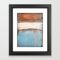 Copper and Blue Abstract Framed Art Print