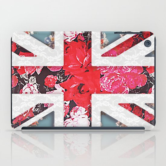 God save the Queen | Elegant girly red floral & lace Union Jack  iPad Case