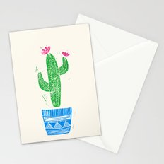 Linocut Cacti #2 in a pot Stationery Cards